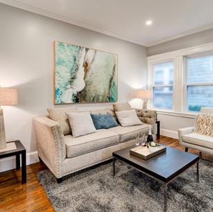 Beautiful living room in home flip real estate photographer Allard Media Group