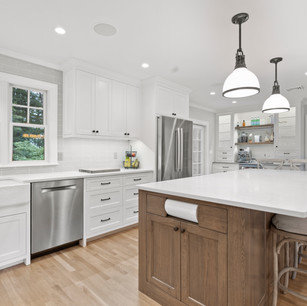 Custom kitchen in luxury home real estate photography with high-end editing shot by real estate photographer Allard Media Group