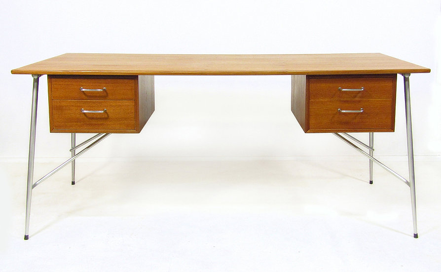 "1950s Danish ""202"" Desk In Teak By Borge Mogensen"