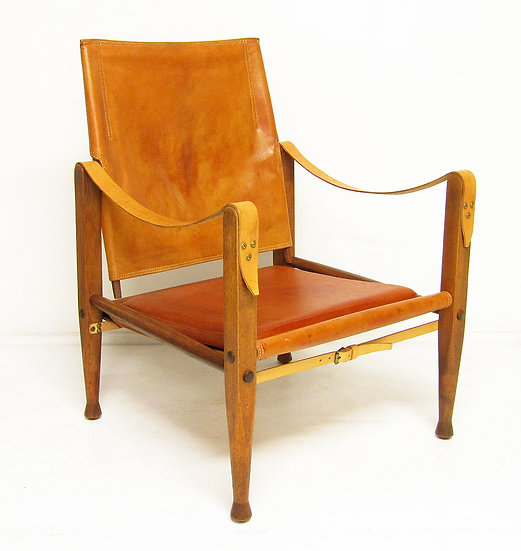 Kaare Klint Danish Safari Chair Tan Leather Ash Wood Rud Rasmussen Midcentury Modern
