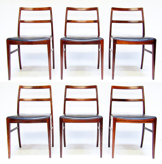 """Six Danish """"430"""" Dining Chairs in Rosewood by Arne Vodder for Sibast"""