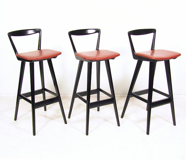 Set of 3 1960s Bar Stools By Rosengren Hansen