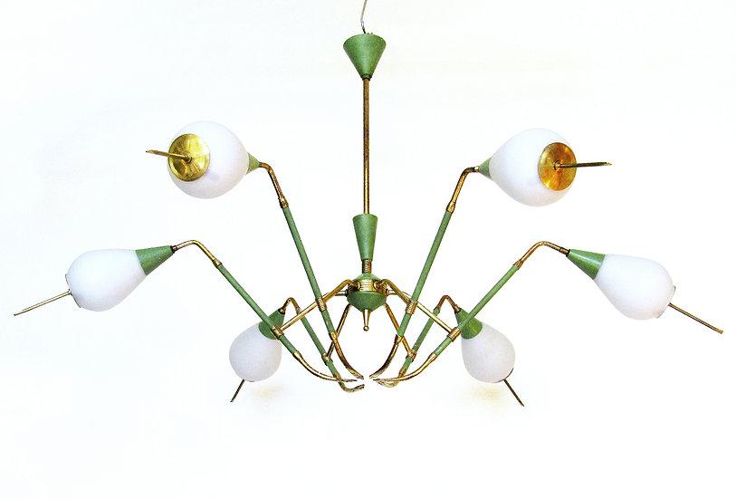 Arredoluce 1950s Midcentury Modernist Chandelier Stilnovo Brass Glass