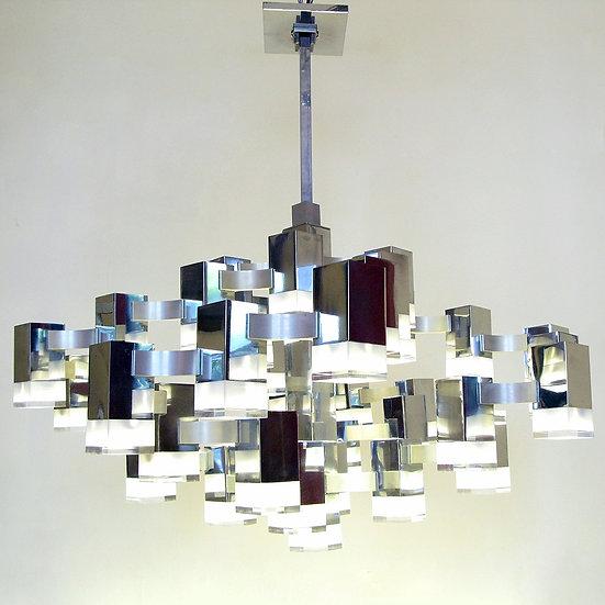1960s Cubic Chandelier by Gaetano Sciolari