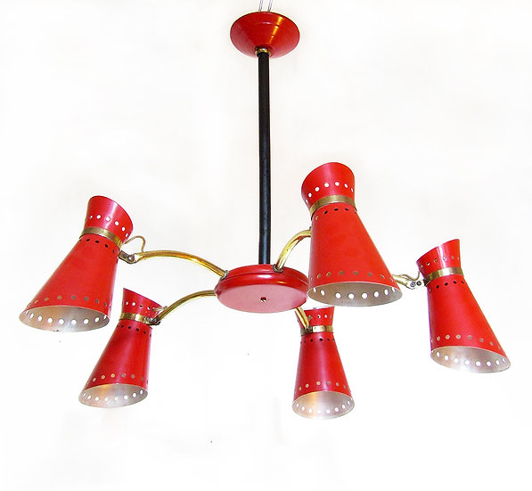 French 1960s Five-Arm Chandelier By Pierre Guariche