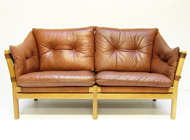 "1960s ""Ilona"" Sofa Loveseat In Tan Leather By Arne Norell"