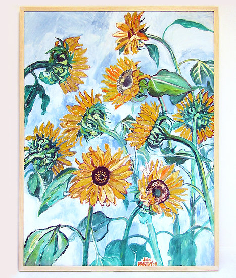 """Sunflowers"" Oil on Canvas by John Bratby RA"