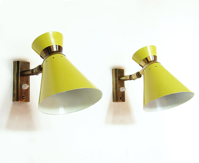 Pair of French 1960s Articulated Wall Lights by Rene Mathieu