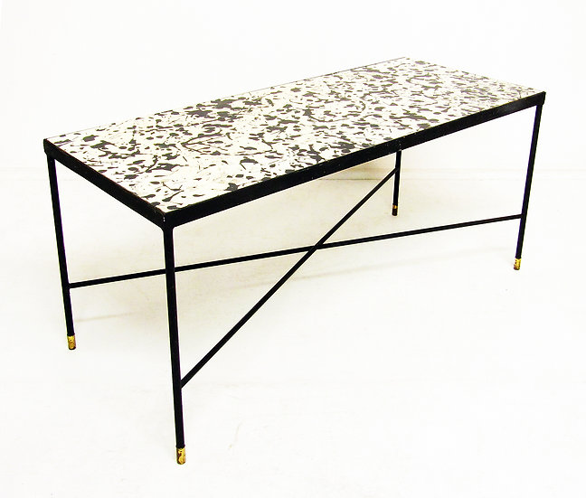 1960s Jackson Pollock Drip Painting Coffee Table Heals Formica Brass