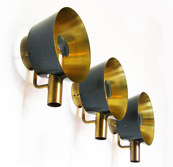 Sculptural Danish Wall Lights in Brass and Racing Green by LYFA