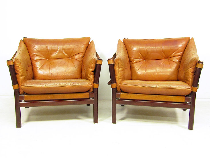 Two 1960s Ilona Chairs In Tan Leather By Arne Norell