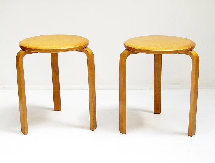 """Two 1940s """"Stool 60""""s by Alvar Aalto for Artek-Pascoe"""