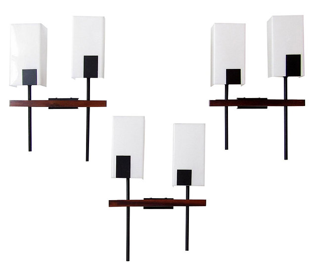 Set of Three Modernist Wall Lights By Maison Arlus