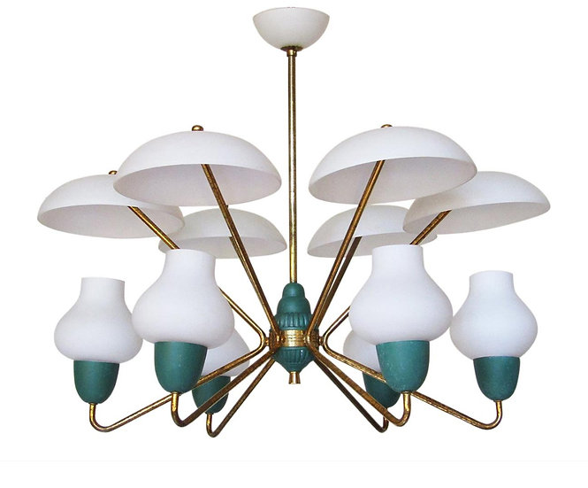 1950s UFO Chandelier in Brass, Glass and Green by Stilnovo