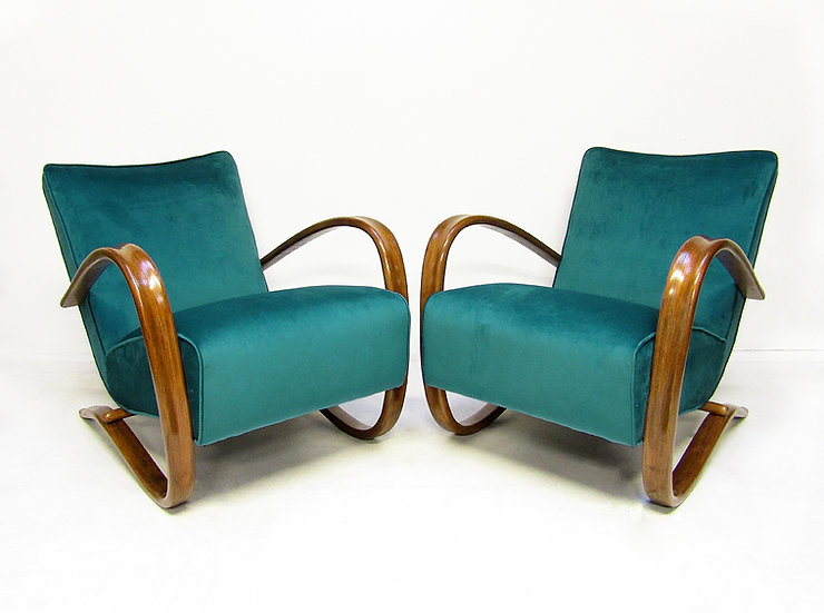 """Pair Of """"H269"""" Lounge Chairs By Jindrich Halabala"""