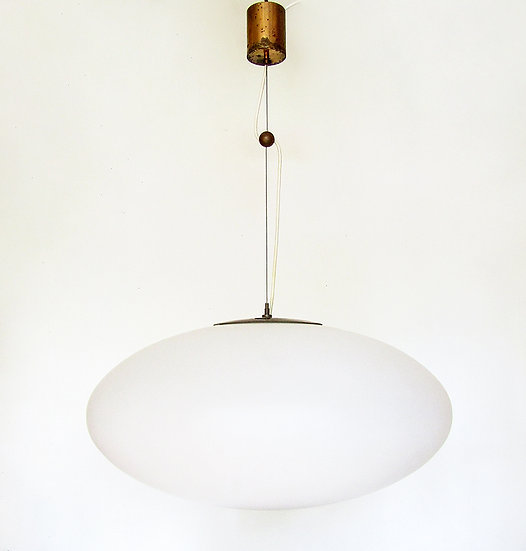 Huge 1950s UFO Ceiling Light Stilnovo Glass Brass
