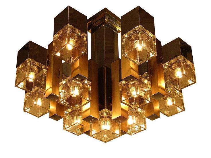 1960s Cubic Chandelier In Chrome, Brass & Glass By Gaetano Sciolari