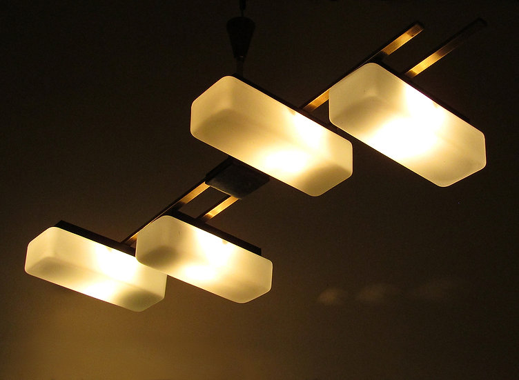 Maison Arlus Modernist 1960s Fixture Ceiling Light French Midcentury