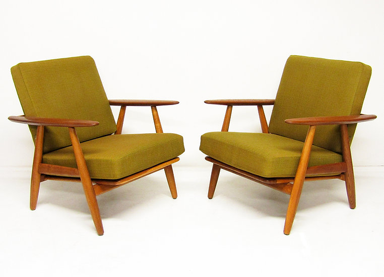 Hans Wegner Cigar Chairs Danish 1960s Olive Green Teak Oak Getama
