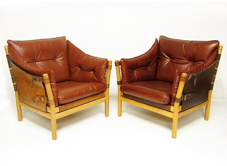Arne Norell Ilona Chairs Pair Lounge Leather Safari Swedish Tan Leather 1960s