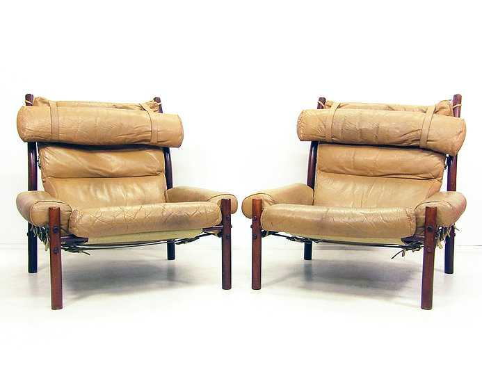"Two 1970s ""Inca"" Lounge Chairs By Arne Norell"