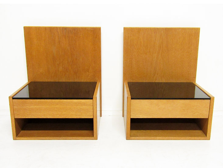 Danish Floating Bedside Nightstands in Oak & Glass by Hans Wegner