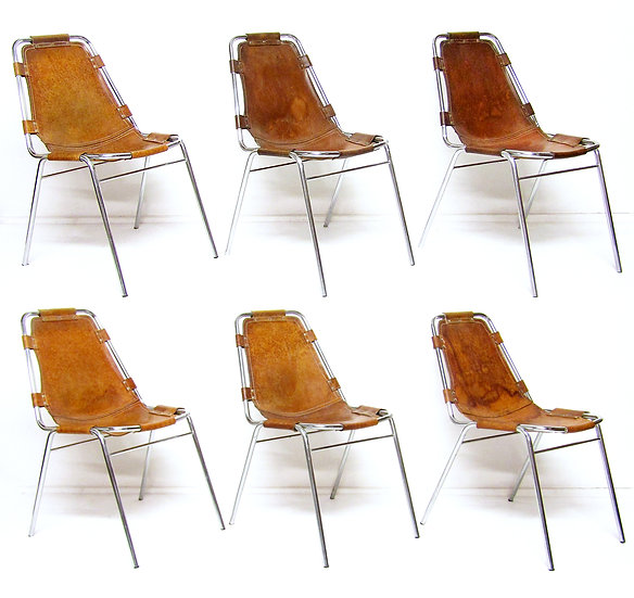 Charlotte Perriand Cassina les Arcs Chairs Leather Tubular Steel 1960s Italian Corbusier