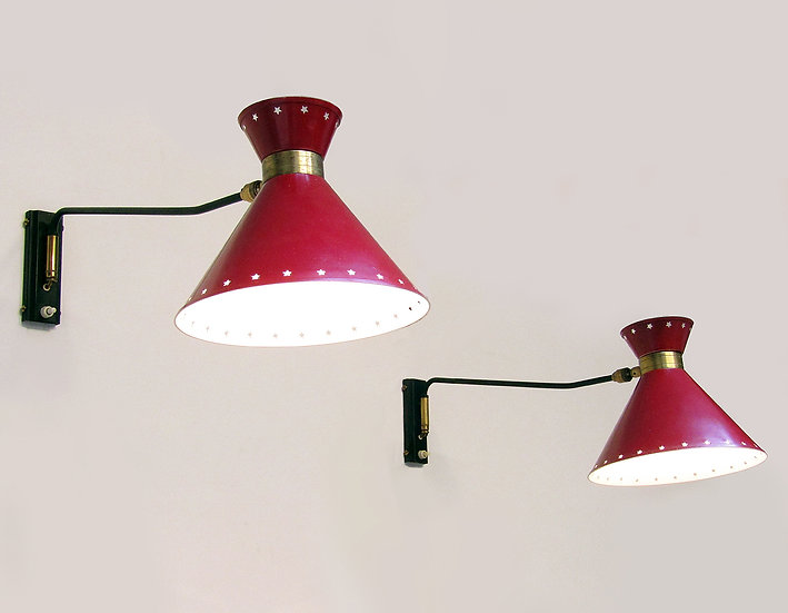Pair of French 1950s Articulated Wall Lights by Rene Mathieu