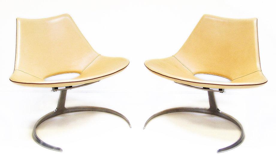 Preben Fabricius Jorgen Kastholm Scimitar Chairs Bo-Ex Danish Pale Tan Leather Steel