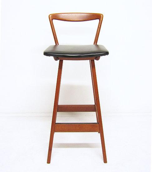 1960s Bar Stool In Teak & Leather By Rosengren Hansen