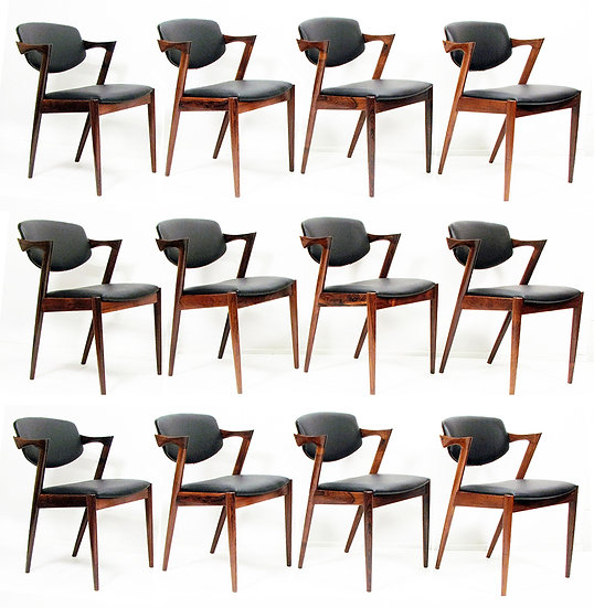 "Twelve ""Model 42"" Chairs in Rosewood by Kai Kristiansen"