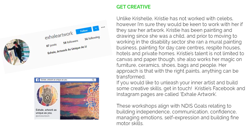 Description of our Beyond the Broadband online program, Get Creative, delivered by Kristie