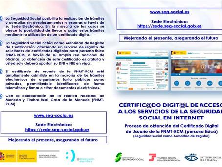 Obtener el certificado digital o registrarse en Cl@ve para realizar trámites con la Seguridad Social