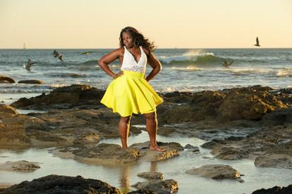 Striking a pose on Playa Grande