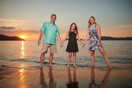 Sunset family photos at El Mangroove Hotel, Autograph Collection in Playa Panama, Costa Rica