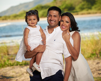 Family portrait at Pangas Beach Club in Tamarindo, Costa Rica