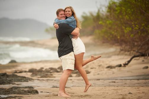 Engagement photos on Playa Langosta in Tamarindo, Costa RIca