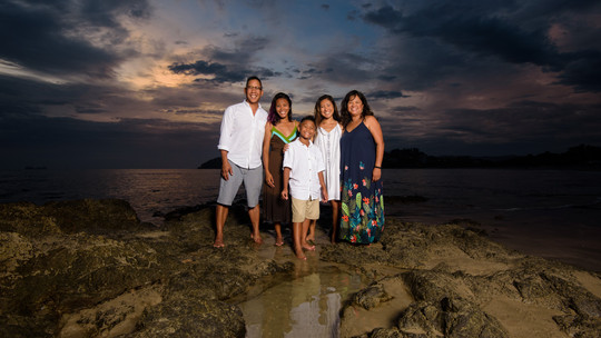 Family photo shot at the Palms in Playa Flamingo, Costa Rica
