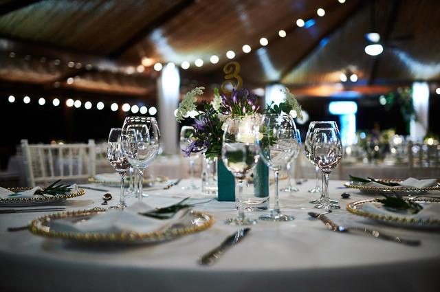 Wedding table setting at RipJack Inn in Playa Grande, Costa Rica