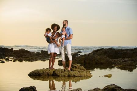 Family beach photography on Playa Langosta in Tamarindo, Costa Rica