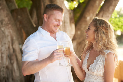Wedding toast at Pangas Beach Club in Tamarindo, Costa Rica