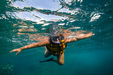 snorkeling photo shoot with Panache Sailing in Playa Flamingo, Costa Rica