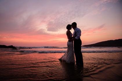 Wedding sunset photos at the Ripjack Inn in Playa Grande, Costa Rica