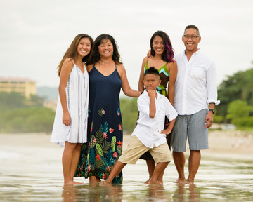 Family photography on the beach at the Palms in Playa Flamingo, Costa Rica