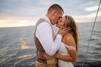 Sunset wedding sail