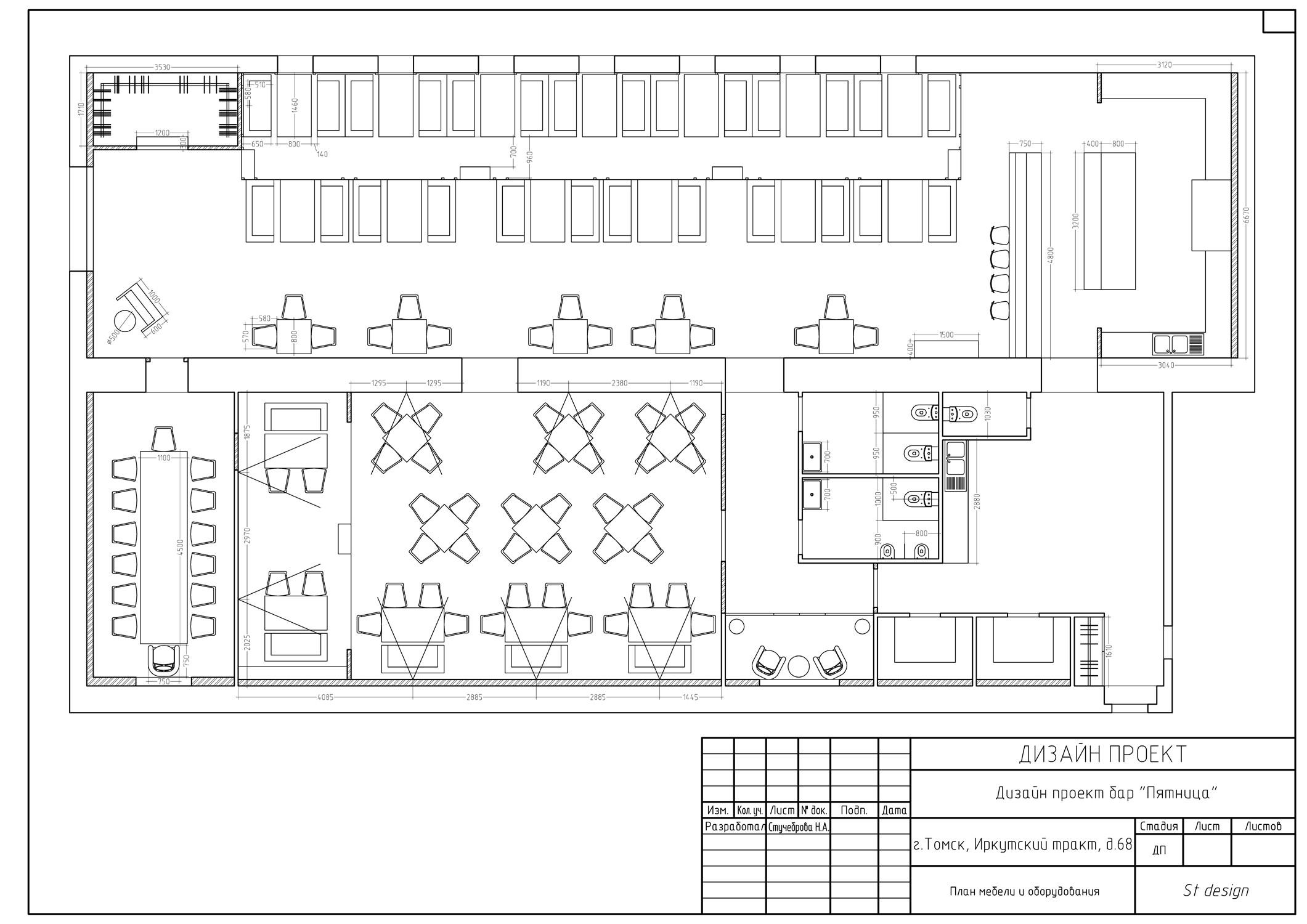 План мебели и оборудования