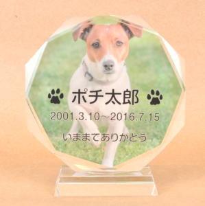 【円形】ガラス製 ペット位牌