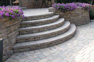 Paver Patio, Retaining Wall with built in steps