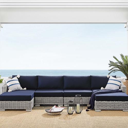 Conway Sunbrella® Outdoor Patio Wicker Rattan 6-Piece Furniture Set