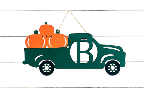 Fall Truck Monogram Door Hanger